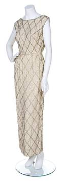 A Malcolm Starr Cream Silk Beaded Evening Gown