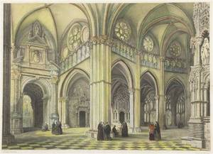A Handcolored Lithograph of a Cathedral
