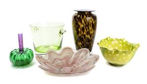 An Assembled Collection of Eight Glass Table Articles