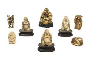 A Collection of Three Carved Ivory Netsuke