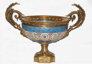 418 Bronze Mounted Porcelain Center Bowl