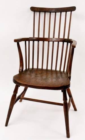 Windsor Style Elm Comb Back Armchair