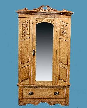 281 Pine Carved Single Door Armoire