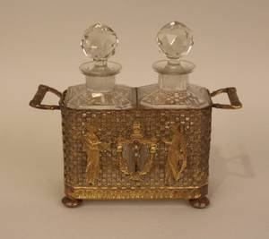E 20th C French Gilt Brass Double Perfume