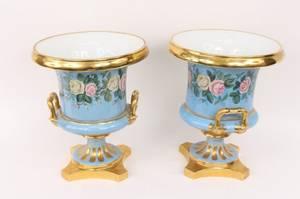Pair of Large Porcelain Parcel Gilt Urns