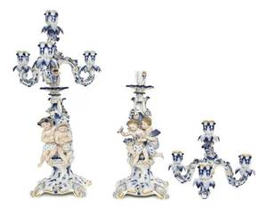 A Pair of Meissen Porcelain Figural FourLight Candelabra
