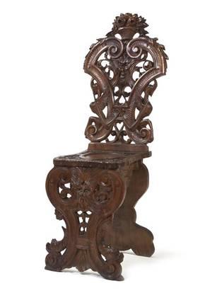 A Renaissance Revival Carved Mahogany Hall Chair