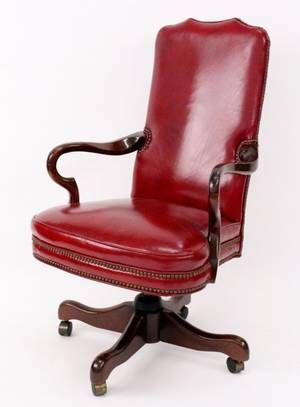 Mahogany Leather Executive Desk Chair
