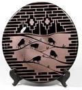 459 Art Glass Plaque Buffalo Motif
