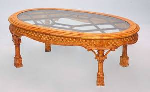 374 ChippendaleStyle Oval Glasstop Coffee Table