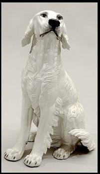 577 Large Italian Ceramic Seated Dog asis