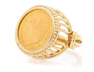A 14 Karat Yellow Gold and Mexican Gold Coin Ring