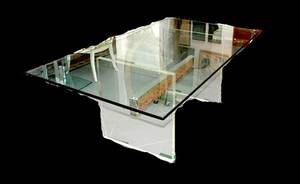 590 Lucite and Glass Top Dining Table
