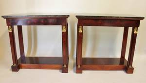 Pair of Mid20th C Marble Top Mahogany Consoles