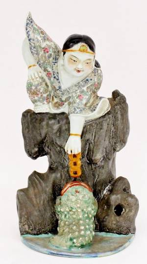 Chinese Porcelain Figural Group Immortal  Toad