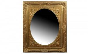 35 Gold Carved Oval Beveled Mirror In Gesso Frame