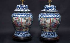 36 Pair Large Blue Chinese Porcelain Ginger Jars