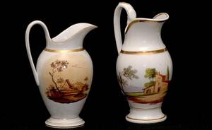 12 Two French Porcelain Hand Painted Pitchers