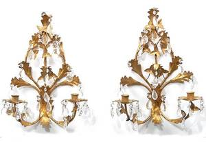 25 Pair Gilt Metal and Crystal Wall Sconces