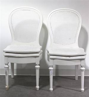 A Pair of White Painted Commode Chairs