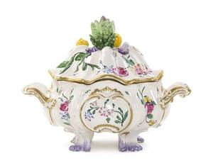A French Faience Lidded Tureen Veuve Perrin