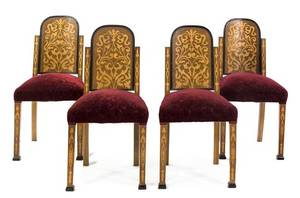 An Set of Four Art Deco Marquetry Side Chairs