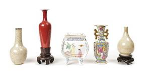 A Collection of Five Asian Porcelain Vases