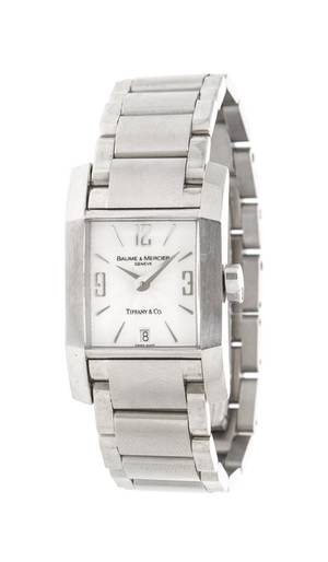 A Stainless Steel Diamante Wristwatch Baume  Mercier for Tiffany  Co