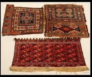 44 Two Antique Turkoman Torbas One Caucasian Mat