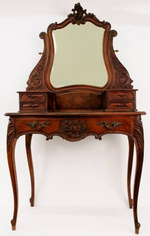 French LXV Style Walnut Dressing Table