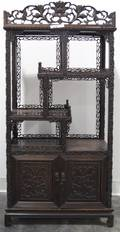 A Chinese Carved Hardwood Etagere