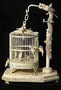 27 Japanese Large Carved Ivory Birdcage Dragon Stand