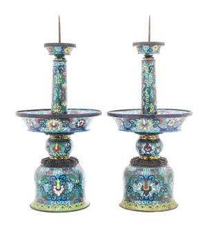 A Pair of Cloisonne Enamel Candlesticks