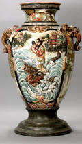 49 Palatial Satsuma Urn High Relief Scenic Dragons