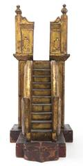 A Thai Carved Painted and Parcel Gilt Staircase Model