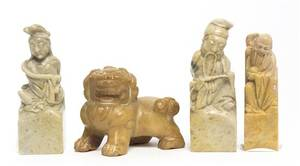A Group of Four Chinese Carved Soapstone Articles