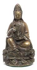 A Chinese Gilt Bronze Figure of Guanyin