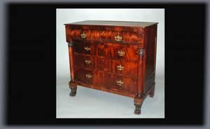 78 American Empire Mahogany Dresser with Paw Feet Fo