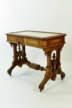 White Marble Victorian Parlor Table