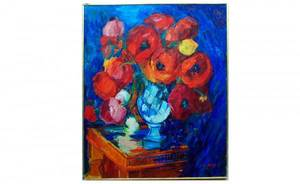 1092 L Falley Floral Still Life Oil on Canvas sig