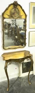 A Louis XVI Style Associate Console Table and Gilt Trumeau Mirror