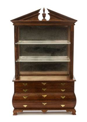 A George III Style Mahogany Bookcase on Chest