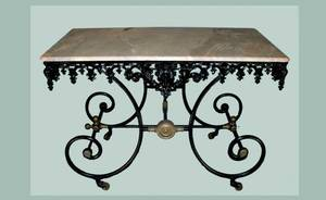 69 Antique French Iron Pastry Table with Marble Top E