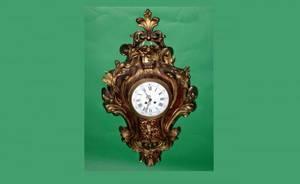 66 French Antique Bronze Cartel Clock with pierced fol