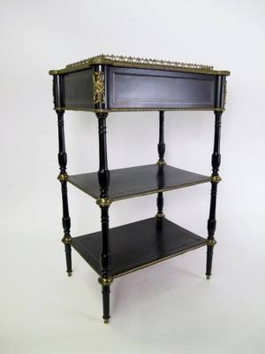 Three Tiered Black Lacquered Stand