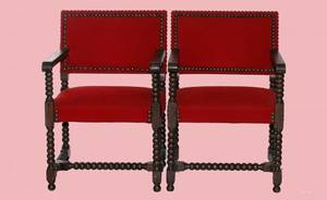 1118 Pair of English Tudor Style Armchairs Red Uphols