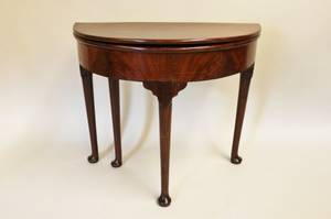 19th C English Mahogany Demilune Game Table