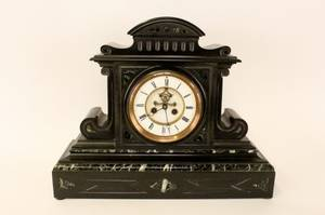 Black Slate  Green Marble Mantle Clock