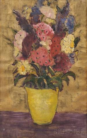 Dorothea M Litzinger American 18891925 Floral Still Life with Laurel Foxglove and Daisies