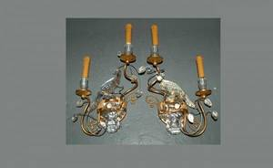 105 Pair GiltMetal and Glass Wall Sconces